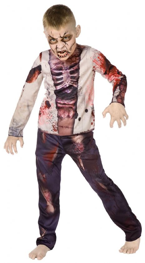 Childs Zombie Boy 3D Costume TWD Halloween Living Walking Dead Fancy Dress